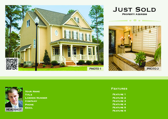 Real Estate Postcard Just Sold #9600A
