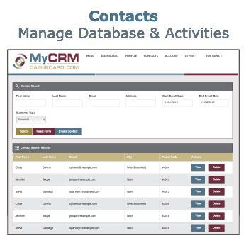 MyCRMDashboard Mortgage CRM Contacts Screen