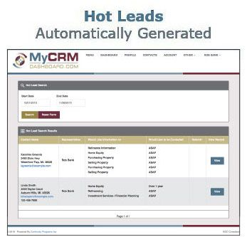 MyCRMDashboard Mortgage CRM Hot Leads Screen