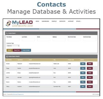 MyLeadDashboard Contacts