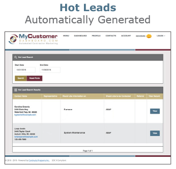 MyCustomerDashboard Hot Leads