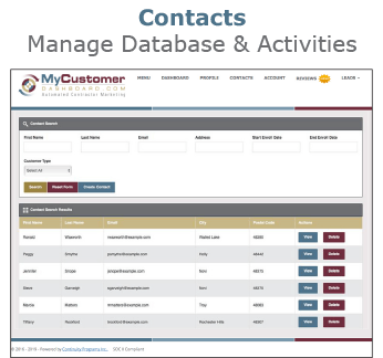 MyCustomerDashboard Contacts